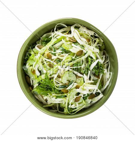Coleslaw Cabbage Salad with Pumpkin Seeds Isolated on White background. Selective focus.