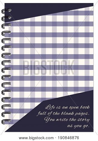 Hand drawn abstract design for decorate book notebook case stationery. Mock up of the notebook. Cover A5 template. EPS 10.