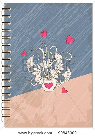 Hand drawn abstract retro design with hearts for decorate book notebook case stationery. Mock up of the notebook. Cover A5 template. EPS 10.
