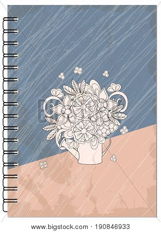 Hand drawn abstract retro design with bouquet for decorate book notebook case stationery. Mock up of the notebook. Cover A5 template. EPS 10.