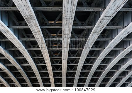 Parallel Steel Beams Supporting Bridge Span
