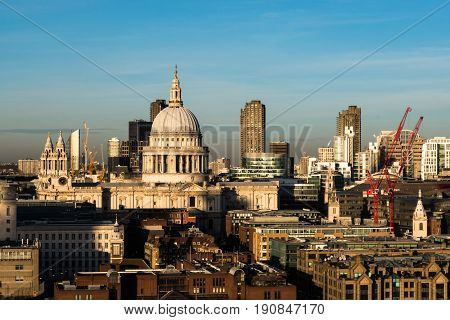 London Skyline With View Over St Pauls Cathedral And Barbican