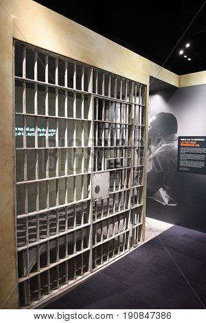 Memphis, TN, USA - June 9, 2017: Jail cell replica of where Dr. Martin Luther King Jr. was imprisoned, at the National Civil Rights Museum in Memphis Tennessee
