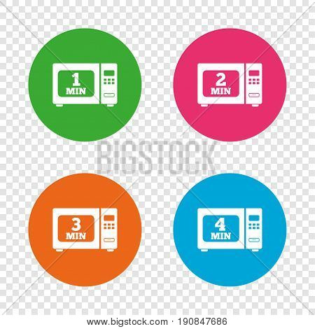 Microwave oven icons. Cook in electric stove symbols. Heat 1, 2, 3 and 4 minutes signs. Round buttons on transparent background. Vector