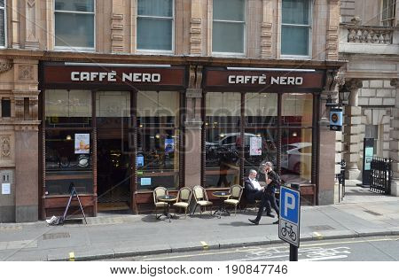 LONDON - AUGUST 6: One of London's Caffe Nero store is shown here on August 6 2015. There are over 700 Caffe Nero coffee houses worldwide.