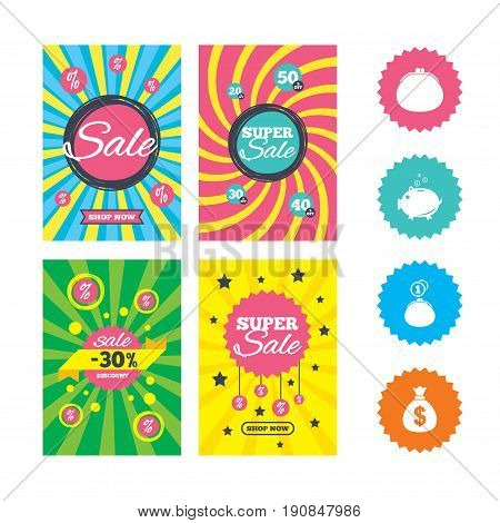 Web banners and sale posters. Wallet with cash coin and piggy bank moneybox symbols. Dollar USD currency sign. Special offer and discount tags. Vector