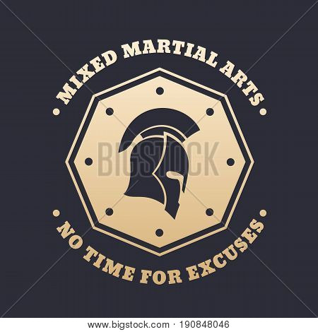 MMA, mixed martial arts vintage emblem, logo, print with spartan helmet, gold over dark