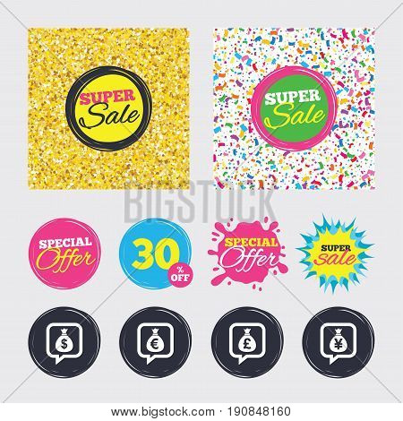 Gold glitter and confetti backgrounds. Covers, posters and flyers design. Money bag icons. Dollar, Euro, Pound and Yen speech bubbles symbols. USD, EUR, GBP and JPY currency signs. Sale banners