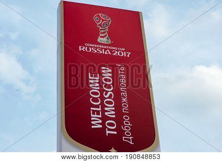 Russia Moscow June 8 2017 Information stand with the symbols of the FIFA Confederations Cup 2017 at the Spartak stadium in Moscow.