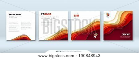 Paper cut background concept Paper carve abstract background for card banner brochure flyer design in red orange yellow colors