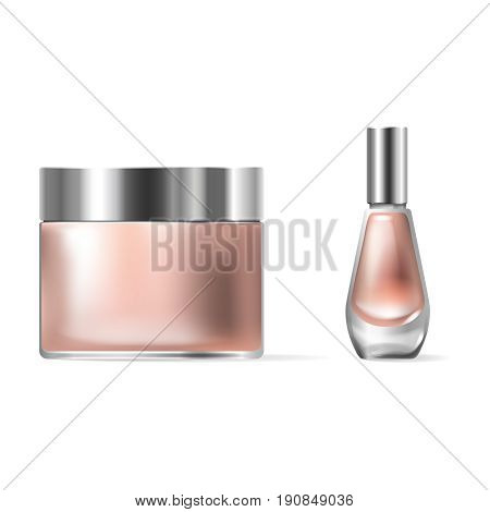Vector illustration of a realistic style of transparent glass cosmetic containers with a silver lid. Jar for lotion, hand cream and cuticle remover, nail polish