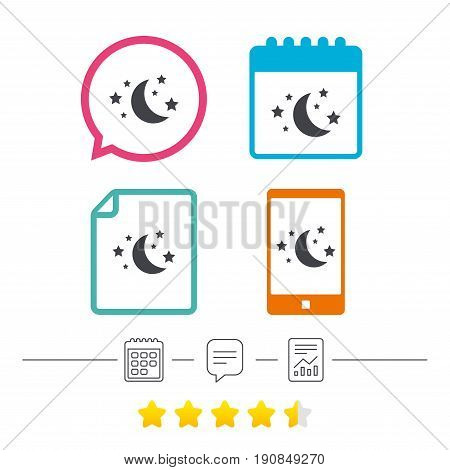 Moon and stars icon. Sleep dreams symbol. Night or bed time sign. Calendar, chat speech bubble and report linear icons. Star vote ranking. Vector