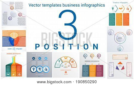 Set colorful templates for infographic 3 positions