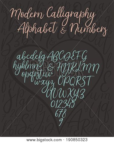 Calligraphic vector alphabet. Decorative uppercase, lowercase letters, ampersand and numbers. Wedding brush calligraphy. Handwritten vector font