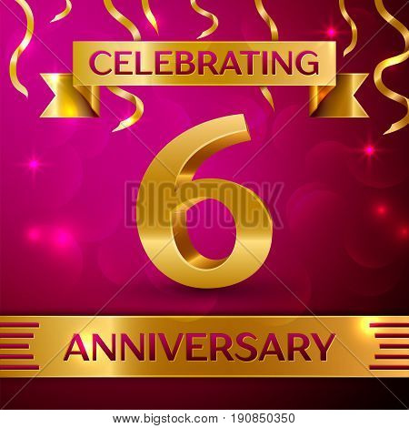Six Years Anniversary Celebration Design. Confetti and golden ribbon on pink background. Colorful Vector template elements for your birthday party. Anniversary ribbon