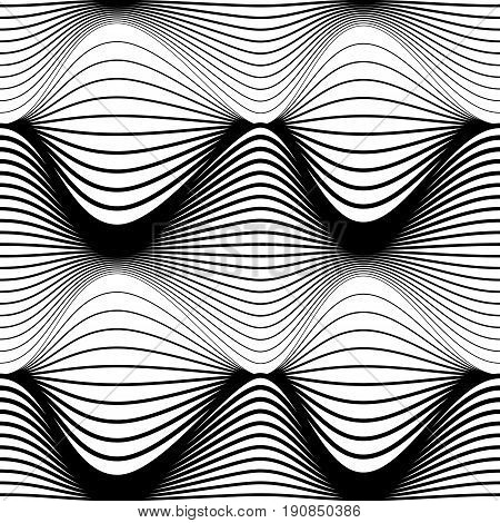 Abstract seamless pattern. Black wavy stripes on a white background. Vector illustration
