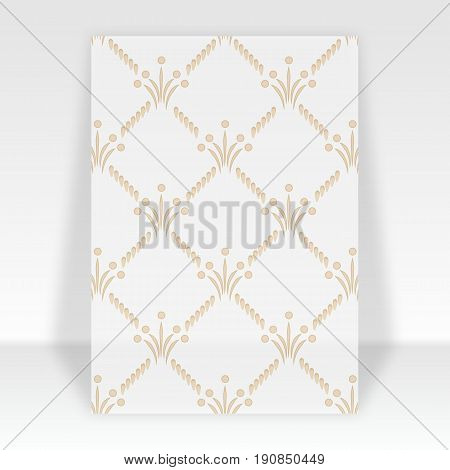 Flyer standing with imperceptible pattern. Empty template for design. Vector illustration