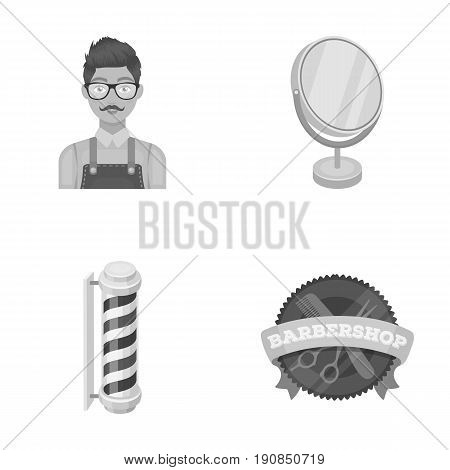 Male hairdresser, sign, mirror and other equipment for a hairdresser.Barbershop set collection icons in monochrome style vector symbol stock illustration .