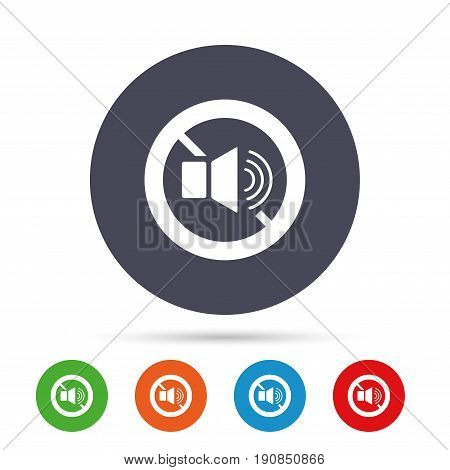 Speaker volume sign icon. No Sound symbol. Round colourful buttons with flat icons. Vector