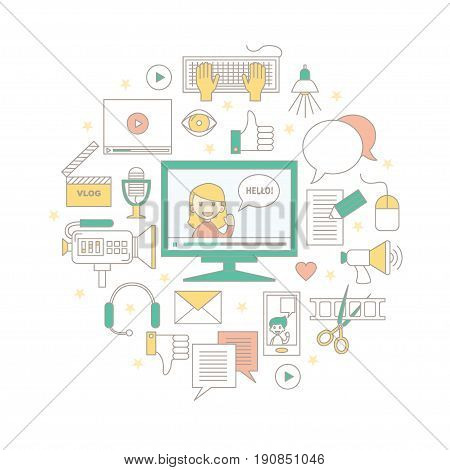 Videoblogging. Vector illustration for social media and modern communications. Concept for digital online blog, video marketing, blogger's work. Colored thin line design. Isolated on white.