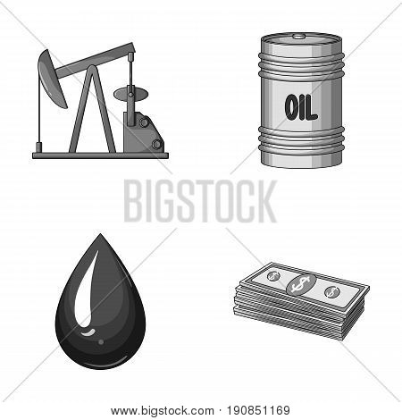 Pump, barrel, drop, petrodollars. Oil set collection icons in monochrome style vector symbol stock illustration .