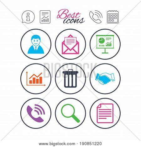 Information, report and calendar signs. Office, documents and business icons. Businessman, handshake and call signs. Chart, presentation and mail symbols. Phone call symbol. Vector