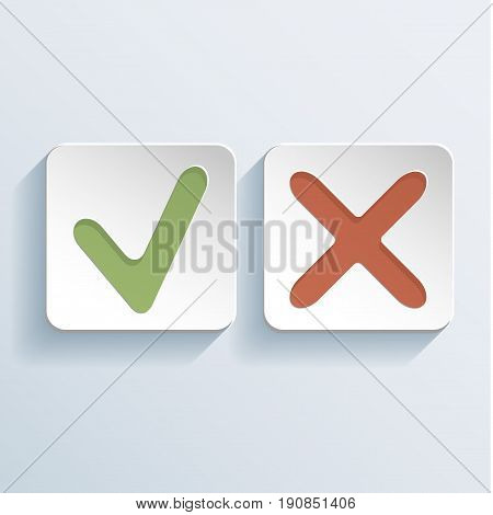 Tick And Cross Signs Icons with OK and red X objects vector illustration