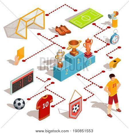 Set of vector isometric soccer icons - soccer field, ball, whistle, soccer goal, football player, referee hand with yellow card, scoreboard and pedestal winners with prize-winning cups