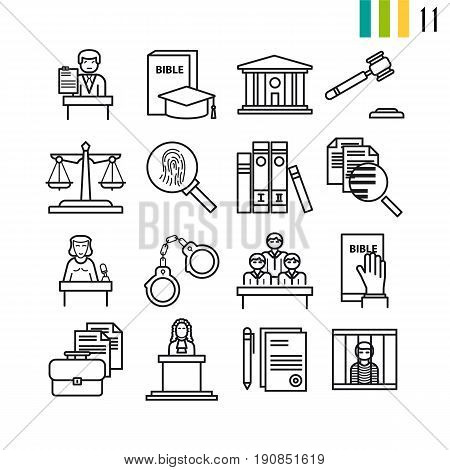 Vector outline judiciary icons, court, attorney, jury and documentation