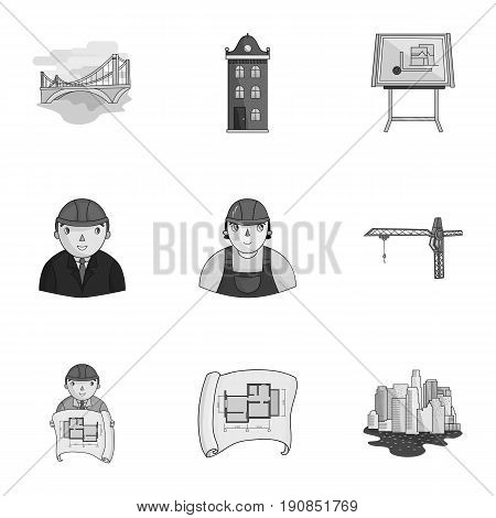 A set of icons on the theme of construction and architects. Builders, architects, and subjects for construction . Architect icon in set collection on monochrome style vector symbol stock web illustration.