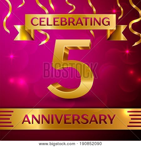 Five Years Anniversary Celebration Design. Confetti and golden ribbon on pink background. Colorful Vector template elements for your birthday party. Anniversary ribbon