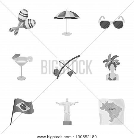 set of icons on the subject of Brazil. Brazilian national attractions. Brazil country Aicon in set collection on monochrome style vector symbol stock web illustration.