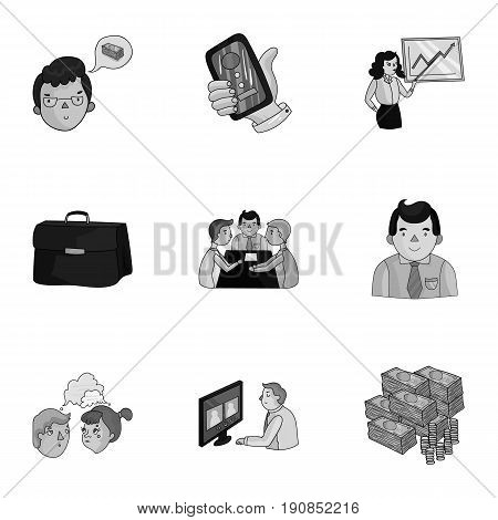 A set of pictures about the transaction, work, office. Office center, analytics.Business conference and ntgotiations icon in set collection on monochrome style vector symbol illustration.