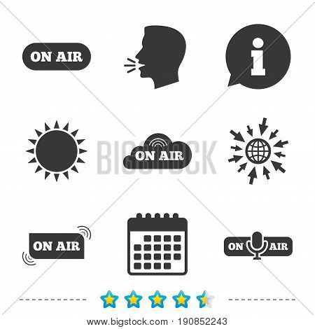 On air icons. Live stream signs. Microphone symbol. Information, go to web and calendar icons. Sun and loud speak symbol. Vector
