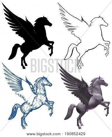 Pegasus Horse With Wings Illustration Isolated Vector