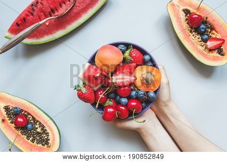 Summer Fruits. Fresh Juicy Berries, Watermelon And Papaya On The Blue Background, Top View