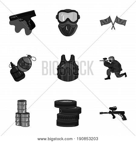 A collection of pictures about the game in paintball. The balloons with paint.Paintball icon in set collection on monochrome style vector symbol stock web illustration.