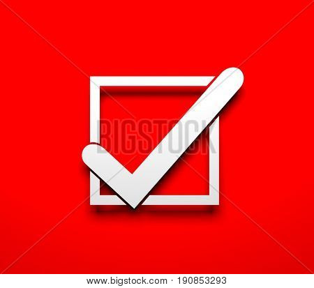 Check mark. White check mark on red background. 3d illustration