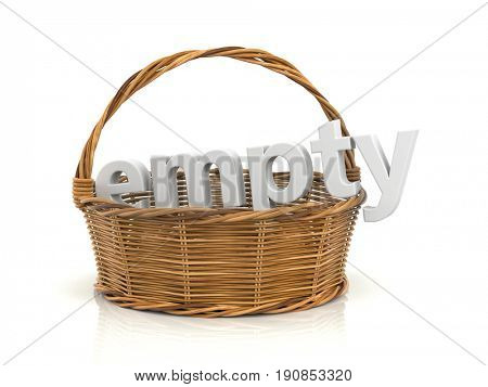 Empty wooden basket. White word in the basket. 3d illustration