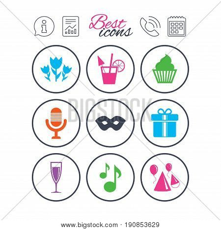Information, report and calendar signs. Party celebration, birthday icons. Cocktail, air balloon and champagne glass signs. Gift box, flowers and carnival symbols. Phone call symbol. Vector