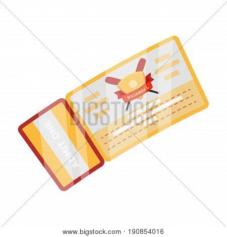 Baseball Ticket. Baseball single icon in cartoon style vector symbol stock illustration .
