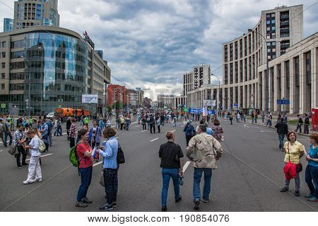 12 June 2017. Russia. Moscow. Saharova st. Protest organized by Alexei Navalny against city planning policy, house demolition and ignoring of unfinished buildings.