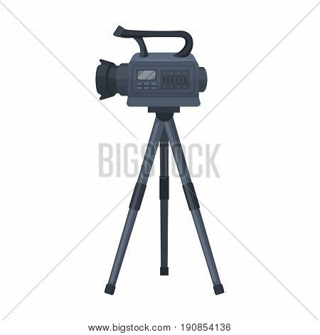 Movie camera on a tripod. Making a movie single icon in cartoon style vector symbol stock illustration .