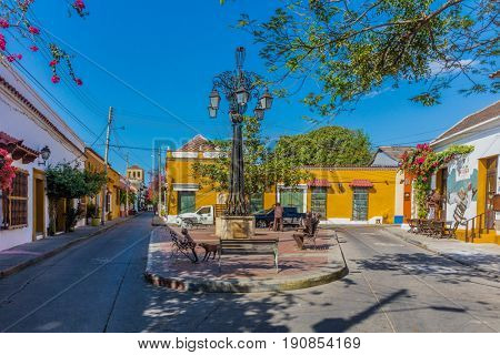 Cartagena , Colombia  - March 5, 2017 : Colorful streets of Getsemaniaera of Cartagena de los indias Bolivar in Colombia South America