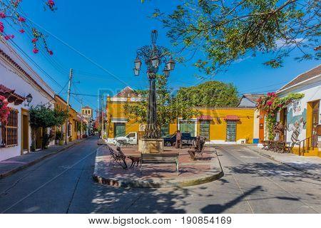 Cartagena , Colombia  - March 5, 2017 : Colorful streets of Getsemaniaera of Cartagena de los indias Bolivar in Colombia South America