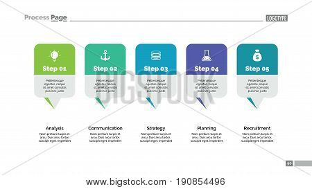 Five pointers process chart slide template. Business data. Step, diagram, design. Creative concept for infographic, presentation, report. Can be used for topics like planning, management, finance.