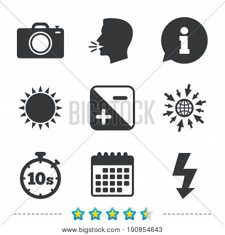 Photo camera icon. Flash light and exposure symbols. Stopwatch timer 10 seconds sign. Information, go to web and calendar icons. Sun and loud speak symbol. Vector