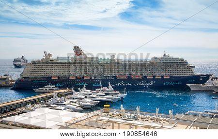 Monaco, Monte Carlo - September 17, 2016: Intercontinental cruise liner anchors in the Monaco marina
