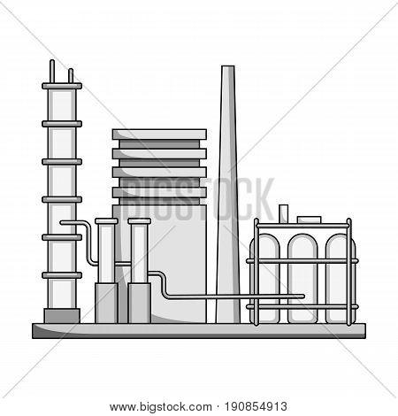 Refinery.Oil single icon in monochrome style vector symbol stock illustration .