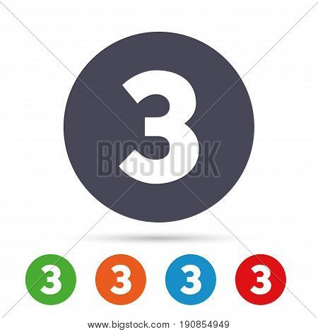 Third place award sign. Winner symbol. Step three. Round colourful buttons with flat icons. Vector